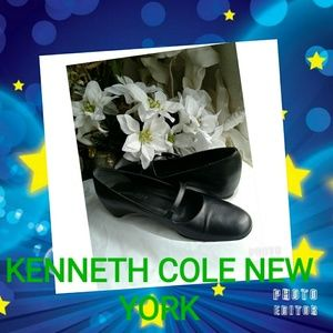 KENNETH COLE NEW YORK BLACK LEATHER MARY JANES